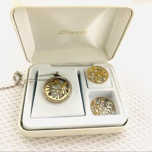 Jewelry - Sterling Silver With Gold Multi Disc Necklace Set